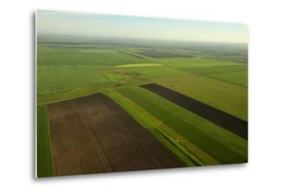 Communist-Era Collective Farm Fields in Romania-Kenneth Garrett-Metal Print