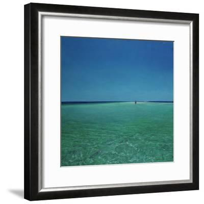 The Bonefisherman: a Distant Flats Fisherman Casts His Fly for Bonefish-Stanley Meltzoff-Framed Photographic Print