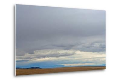A Spring Storm Hovers over Harvested Wheat Fields in the Gallatin Valley, Near Bozeman, Montana-Gordon Wiltsie-Metal Print