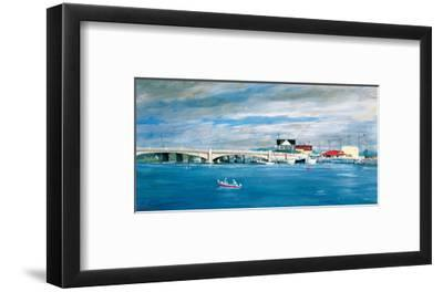 Shark River Bridge: Two Fisherman in a Small Boat Approach the Bridge with its Arched Underpasses-Stanley Meltzoff-Framed Giclee Print