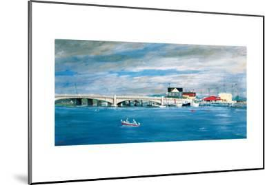 Shark River Bridge: Two Fisherman in a Small Boat Approach the Bridge with its Arched Underpasses-Stanley Meltzoff-Mounted Giclee Print