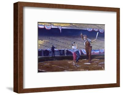 Clean-Up Batter: Marveling at a Man's Batting Skills During Warm-Ups for the 1976 World Series-Stanley Meltzoff-Framed Giclee Print