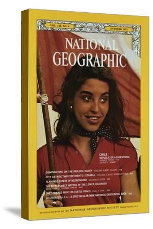 Cover of the October, 1973 National Geographic Magazine-George F^ Mobley-Stretched Canvas Print