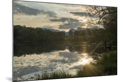 Sunset at Loughrigg Tarn Near Ambleside in the Lake District-Alex Treadway-Mounted Photographic Print