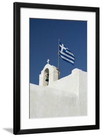 The Greek National Flag Atop a Ai Yiannis Detis Monastery-Sergio Pitamitz-Framed Photographic Print