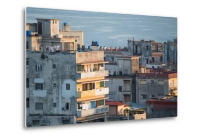 A Apartment Buildings in Havana, Cuba with the Gulf of Mexico in the Background-Erika Skogg-Metal Print