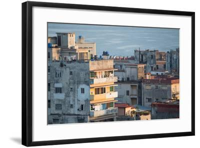 A Apartment Buildings in Havana, Cuba with the Gulf of Mexico in the Background-Erika Skogg-Framed Photographic Print