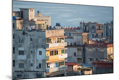 A Apartment Buildings in Havana, Cuba with the Gulf of Mexico in the Background-Erika Skogg-Mounted Photographic Print