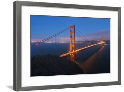 Lights on the Golden Gate Bridge at Dusk-Jeff Mauritzen-Framed Photographic Print