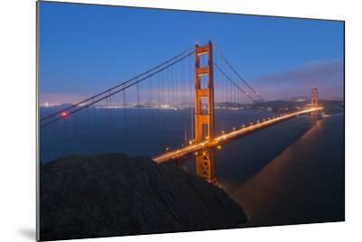 Lights on the Golden Gate Bridge at Dusk-Jeff Mauritzen-Mounted Photographic Print