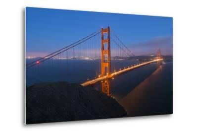 Lights on the Golden Gate Bridge at Dusk-Jeff Mauritzen-Metal Print