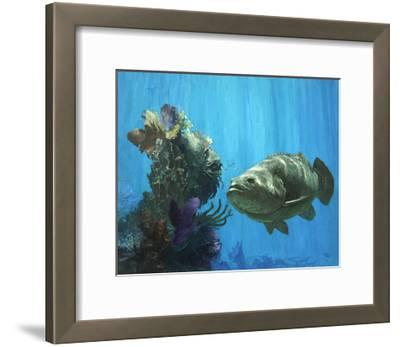An Atlantic Goliath Grouper in 'Secrets of Arcimboldo's Reef, 2000'-Stanley Meltzoff-Framed Giclee Print