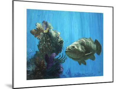 An Atlantic Goliath Grouper in 'Secrets of Arcimboldo's Reef, 2000'-Stanley Meltzoff-Mounted Giclee Print