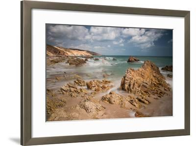 A Long Exposure During the Day by the Rock Formations Near Pedra Furada, Jericoacoara, Brazil-Alex Saberi-Framed Photographic Print