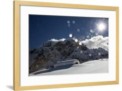 A Hiker Approaches the Franzedaz Mountain Hut, by Monte Fop and Cime D'Auta Near Marmolada Glacier-Ulla Lohmann-Framed Photographic Print
