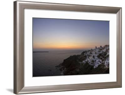 Moments after Sunset at the Mediterranean Island of Santorini Island, the Crescent Moon Appears-Babak Tafreshi-Framed Photographic Print