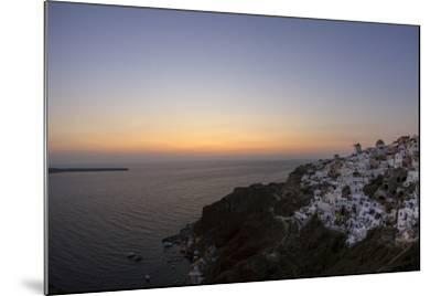 Moments after Sunset at the Mediterranean Island of Santorini Island, the Crescent Moon Appears-Babak Tafreshi-Mounted Photographic Print