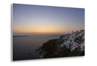 Moments after Sunset at the Mediterranean Island of Santorini Island, the Crescent Moon Appears-Babak Tafreshi-Metal Print