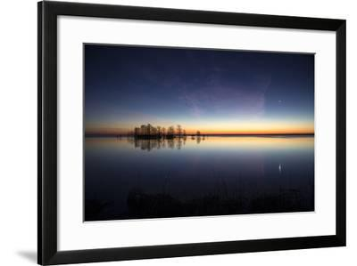 Sunrise with Light Pink Cloud and Planet over Lake Mattamuskeet and a Stand of Bald Cypress Trees-Robbie George-Framed Photographic Print
