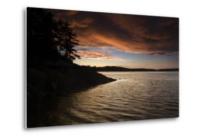 Turbulent Clouds over Water are Cast with Fiery Yellows and Oranges at Sunset-Robbie George-Metal Print