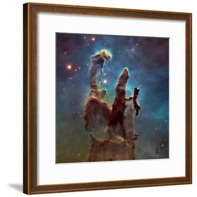 Images of the 'Pillars of Creation' in the Eagle Nebula--Framed Photographic Print