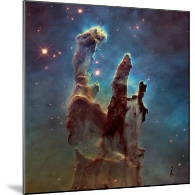 Images of the 'Pillars of Creation' in the Eagle Nebula--Mounted Photographic Print