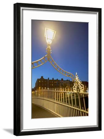 Ha' Penny Bridge over Liffey River at Dusk-Tim Thompson-Framed Photographic Print