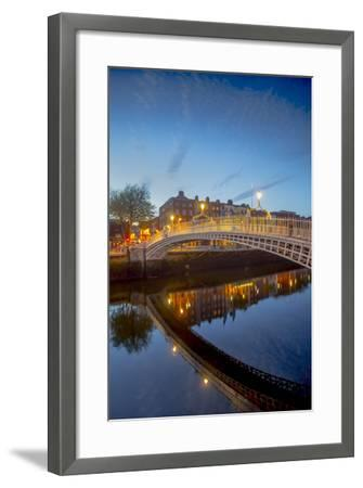 Ha'Penny Bridge and River Liffey at Dusk-Tim Thompson-Framed Photographic Print