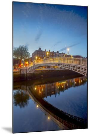 Ha'Penny Bridge and River Liffey at Dusk-Tim Thompson-Mounted Photographic Print