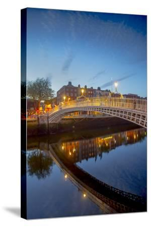 Ha'Penny Bridge and River Liffey at Dusk-Tim Thompson-Stretched Canvas Print