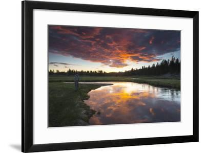 A Fisherman Tries His Luck under a Radiant Sky at Dusk-Robbie George-Framed Photographic Print