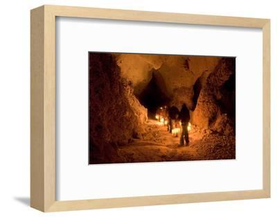 Visitors on the Left Hand Tunnel Tour in Carlsbad Caverns National Park, New Mexico-Phil Schermeister-Framed Photographic Print