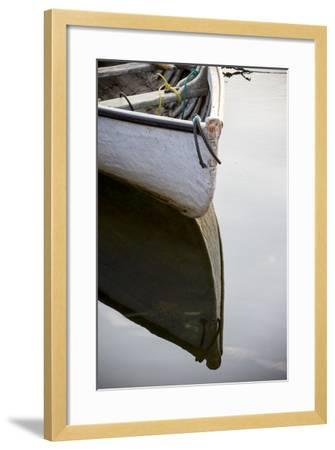 The Bow of a Dinghy Reflected on Water-Robbie George-Framed Photographic Print