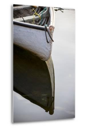 The Bow of a Dinghy Reflected on Water-Robbie George-Metal Print