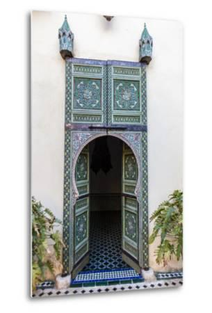 An Arched Painted Door in Le Jardin Des Biehn, a Riad or Small Hotel in the Medina of Fez-Richard Nowitz-Metal Print
