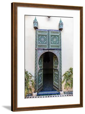An Arched Painted Door in Le Jardin Des Biehn, a Riad or Small Hotel in the Medina of Fez-Richard Nowitz-Framed Photographic Print