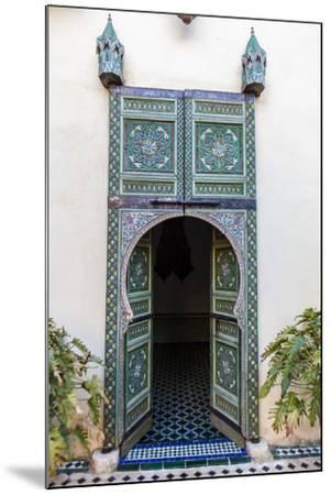 An Arched Painted Door in Le Jardin Des Biehn, a Riad or Small Hotel in the Medina of Fez-Richard Nowitz-Mounted Photographic Print