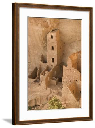 The Ruins of a Cliff Dwelling, Square Tower House, in Mesa Verde National Park-Phil Schermeister-Framed Photographic Print