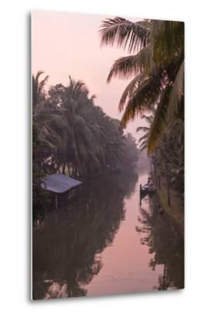 Sunset Creates a Beautiful Pink Hue in the Backwaters-Kelley Miller-Metal Print