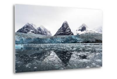 The Sheer Fracture Zone of a Glacier Sandwiched Between Alpine Peaks in a Fjord-Jason Edwards-Metal Print