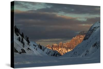 A View of Sunlight Illuminating Civetta from the Foot of the Marmolada Glacier-Ulla Lohmann-Stretched Canvas Print