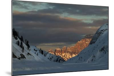 A View of Sunlight Illuminating Civetta from the Foot of the Marmolada Glacier-Ulla Lohmann-Mounted Photographic Print