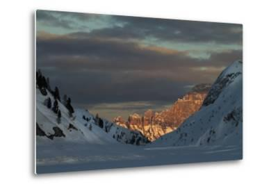 A View of Sunlight Illuminating Civetta from the Foot of the Marmolada Glacier-Ulla Lohmann-Metal Print