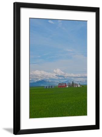 A Family Farm Sits Amid Wheat Fields Near Great Falls, Montana-Gordon Wiltsie-Framed Photographic Print