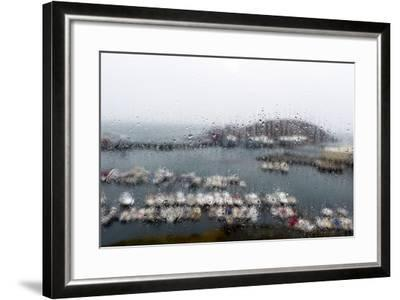 A Rain Storm Lashing a Window Overlooking a Fishing Boat Harbor-Jason Edwards-Framed Photographic Print