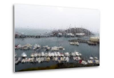 A Rain Storm Lashing a Window Overlooking a Fishing Boat Harbor-Jason Edwards-Metal Print