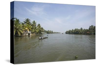 A Wide Angle View of the Backwaters in Southern India-Kelley Miller-Stretched Canvas Print