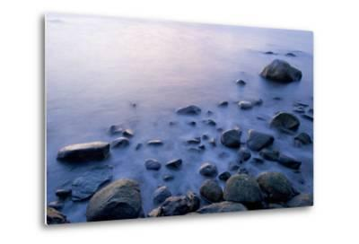 Surf Washes Through Rocks on the Shore-Paul Colangelo-Metal Print