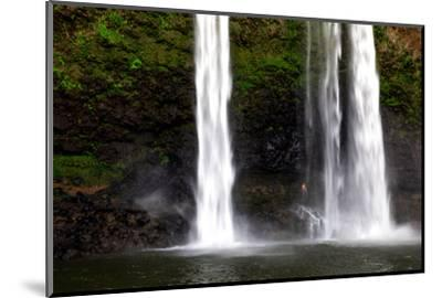 A Man Stands under Wailua Falls-Ben Horton-Mounted Photographic Print