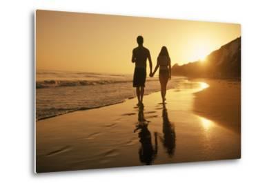 A Couple Walking on the Beach at Sunset-Macduff Everton-Metal Print